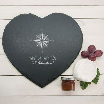 Romantic Compass Heart Slate Cheese Board